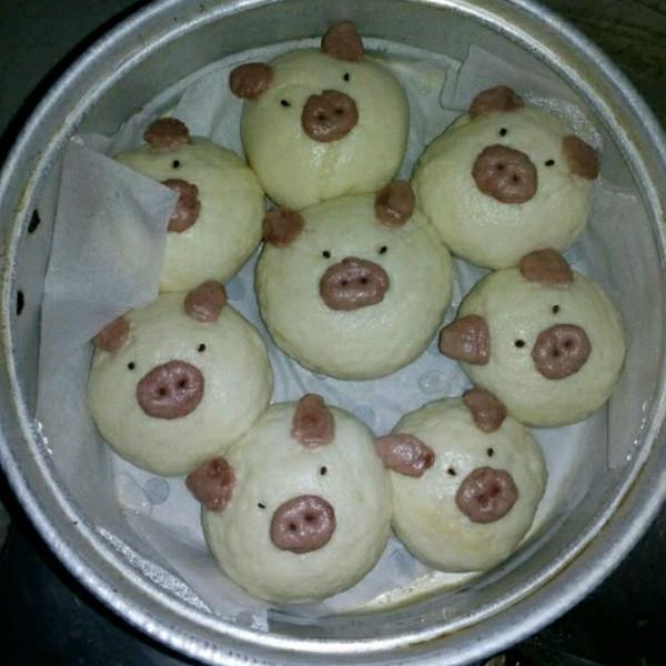可爱的多多123做的小猪包的做法