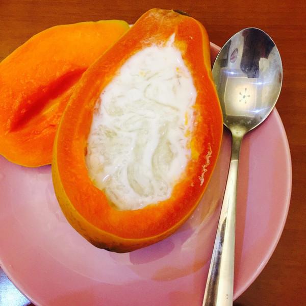 的牛奶冰糖燕窝木瓜盅做法的学习成果照