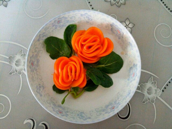 幸福的笑容1的胡萝卜玫瑰花做法的学习成果照