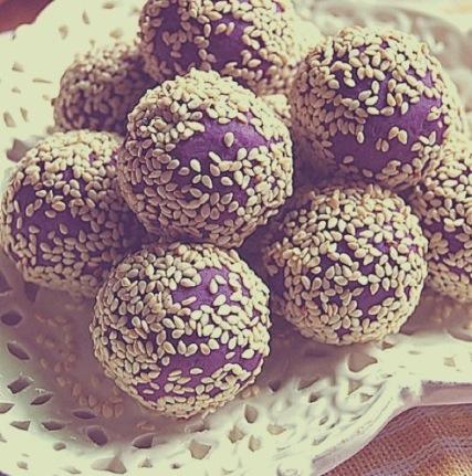 仙女弥小萨做的奶香蜂蜜紫薯球的做法