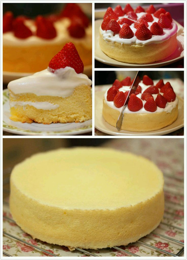 老公生日,自己做的草莓蛋糕.