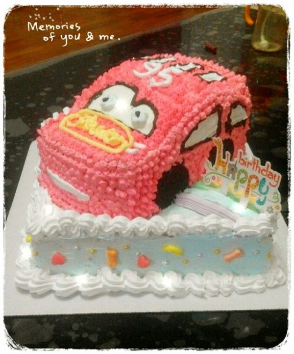 定儿3的可爱的小汽车生日蛋糕儿做法的学习成果照