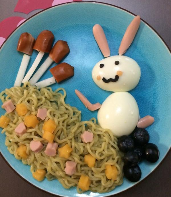vivian0609的小白兔采蘑菇儿童早餐做法的学习成果照