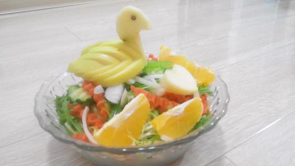 新新小厨的 苹果天鹅 手把手教你拼盘装饰 做法的学习成果照 豆果美食