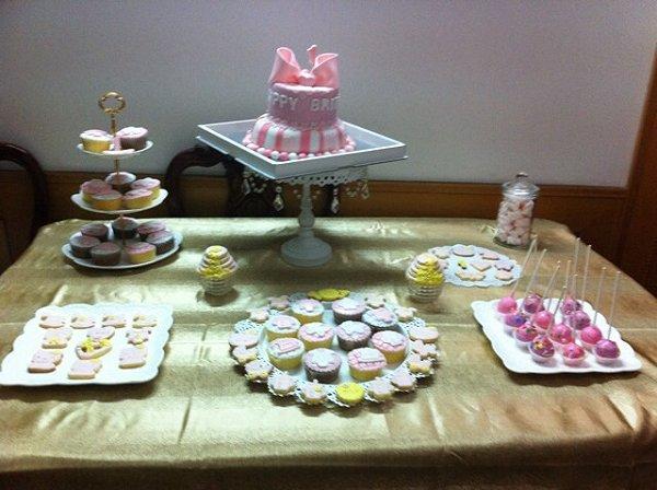 英式茶壶翻糖蛋糕侧面花纹图案