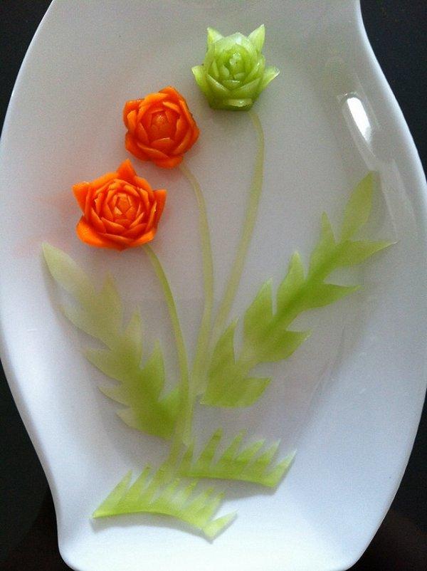 钰锈做的用胡萝卜和莴笋雕的小花的做法