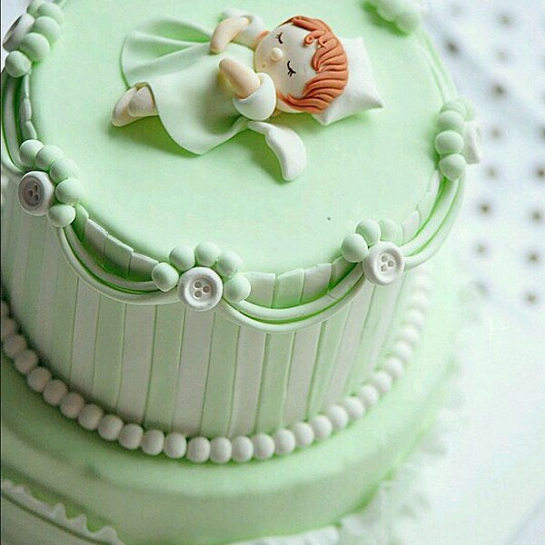 小皮的时光机做的给百天宝宝做的翻糖蛋糕的做法图片