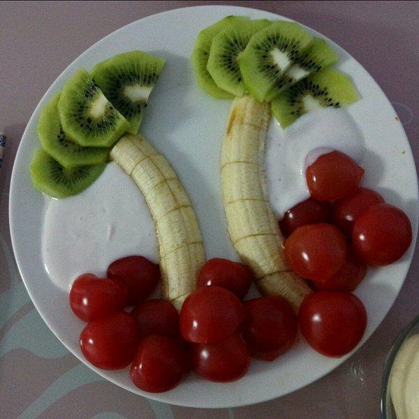 阳阳宇妞的椰树水果拼盘做法的学习成果照