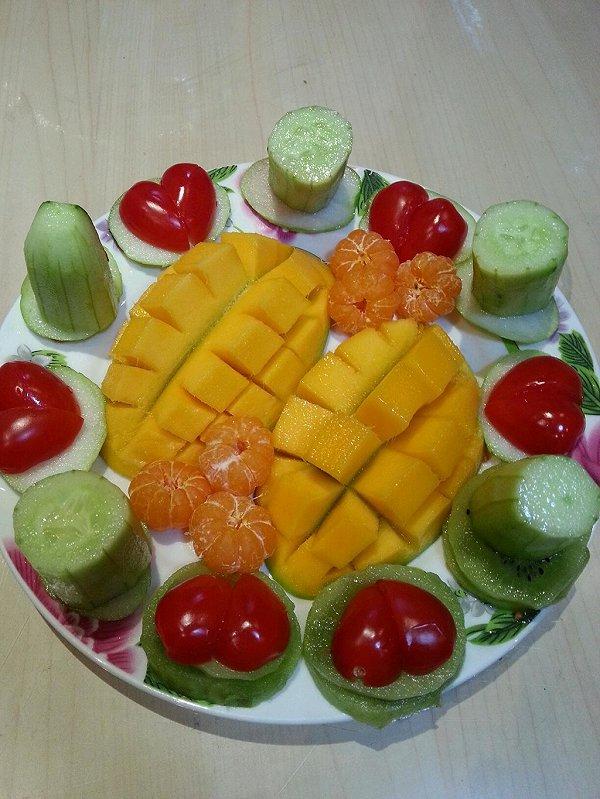 色彩斑斓的清晨的水果拼盘做法的学习成果照