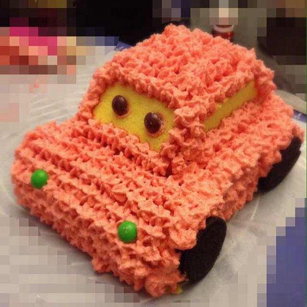 蘑菇菊的可爱的小汽车生日蛋糕儿做法的学习成果照