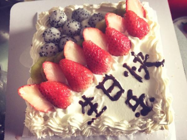 tom妈做的杏仁水果正方形戚风生日蛋糕的做法